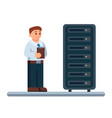 flat network engineer vector image