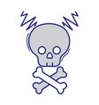 full color skull with bones to dander symbol to vector image vector image