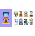 game arcade machine set electronic gaming machine vector image vector image
