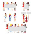 girl power and feminism icon set flat vector image vector image