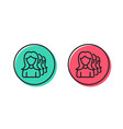 group of women line icon teamwork sign vector image vector image