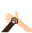 hand arm holding cat dog paw print leg foot help vector image vector image