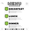 hand drawn menu for cafe with breakfast lunch vector image vector image