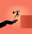 hand helping a businesswoman to jump higher vector image vector image