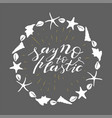 hand lettering phrase say no to plastic in white vector image vector image