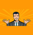 happy businessman or student rejoices at success vector image vector image