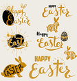 happy easter set labels and design elements vector image vector image