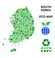 leaf green collage south korea map vector image vector image