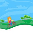 little girl riding a bicycle vector image vector image