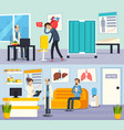 male doctor character flat compositions vector image vector image