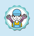 mechanic boy in overalls with tools car service vector image vector image