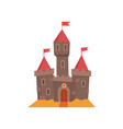 medieval castle with flanking towers wooden gate vector image vector image