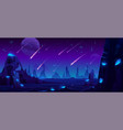meteor rain at night sky neon space background vector image