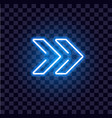neon arrow luminous indicator neon tube showing vector image vector image