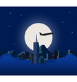 Night city with white moon vector image vector image