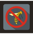 No wasp sign icon flat style vector image vector image