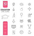 Online Education Thin Lines Web Icon Set vector image vector image