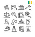 outline judiciary icons vector image vector image