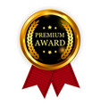 premium award gold medal with red ribbon icon vector image