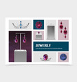 realistic jewelry elements collection vector image