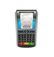 realistic nfc pos terminal for payment debit or vector image