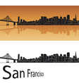San Francisco skyline in orange background vector image
