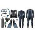 scuba diving equipment in black color vector image