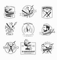 set retro barber shop emblems vector image