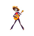 skeleton in mexican traditional costume dancing vector image vector image