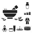 spa salon and equipment black icons in set vector image vector image
