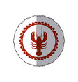 sticker red stamp border with silhouette lobster vector image vector image