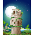 Stone house in fullmoon night vector image
