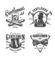 vintage monochrome gentleman labels set vector image vector image