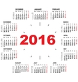 Wall calendar clock 2016 vector image vector image