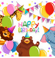 wild animal in birthday template vector image vector image