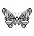 Zentangle stylized black Butterfly Hand Drawn vector image