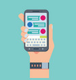 mobile phone chat message notifications hand with vector image