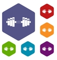 Barbell icons set vector image vector image