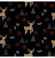 Black and gold deer in a forest seamless pattern vector image