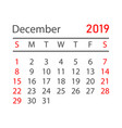 calendar december 2019 year in simple style vector image vector image