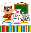 cat mouse in school vector image vector image