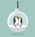 christmas ball with penguins family in egg vector image