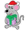 christmas mouse with gift vector image