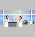 couple scientists working with microscope in vector image vector image