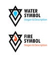 creative signs of fire and water with captions vector image vector image