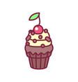 cute cupcake sweets art vector image