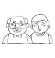 cute grandparents couple cartoon vector image