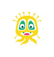 cute yellow cartoon monster fabulous incredible vector image vector image