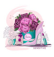 delicate print for t-shirt with pink roses vector image