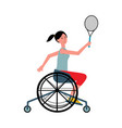 disabled woman in wheelchair playing tennis flat vector image vector image